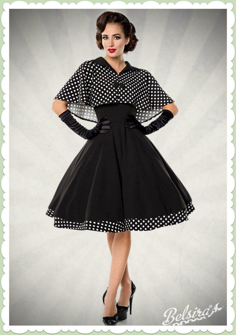 Belsira 20er Jahre Retro Petticoat Kleid - Cape Dress - Schwarz