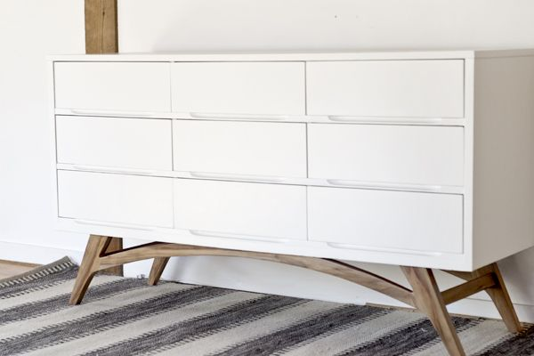 Before And After Adding Diy Legs Gives This Mid Century Dresser A Total Transformation Man Made Crafts For Men Keywords Decor D