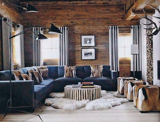Elle Decor Via Colleen Fox Interiors In 2020 Brown Living Room Decor Modern Lodge Cabin Living