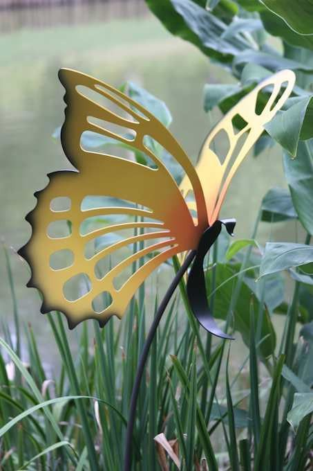 Large Butterfly Garden Stakes Set 3 Metal Garden Art Scrap
