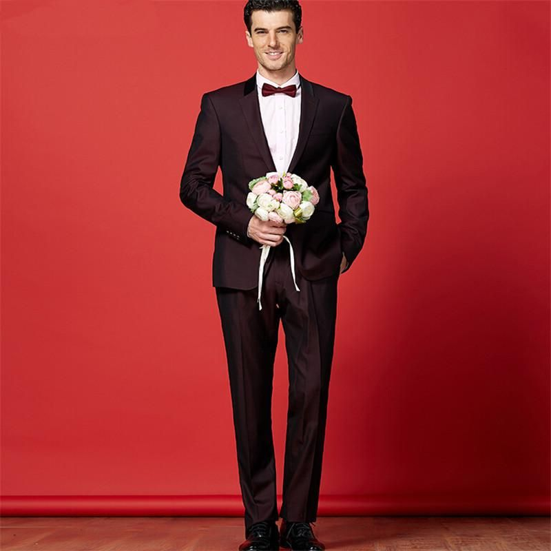 wine red suit suit the groom wedding fashion mens wedding