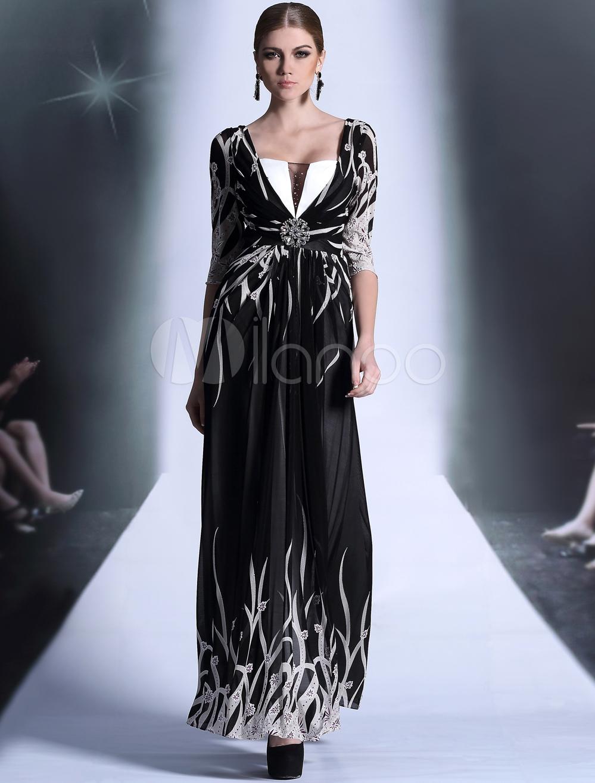 Milanoo ltd evening dresses black print vneck half