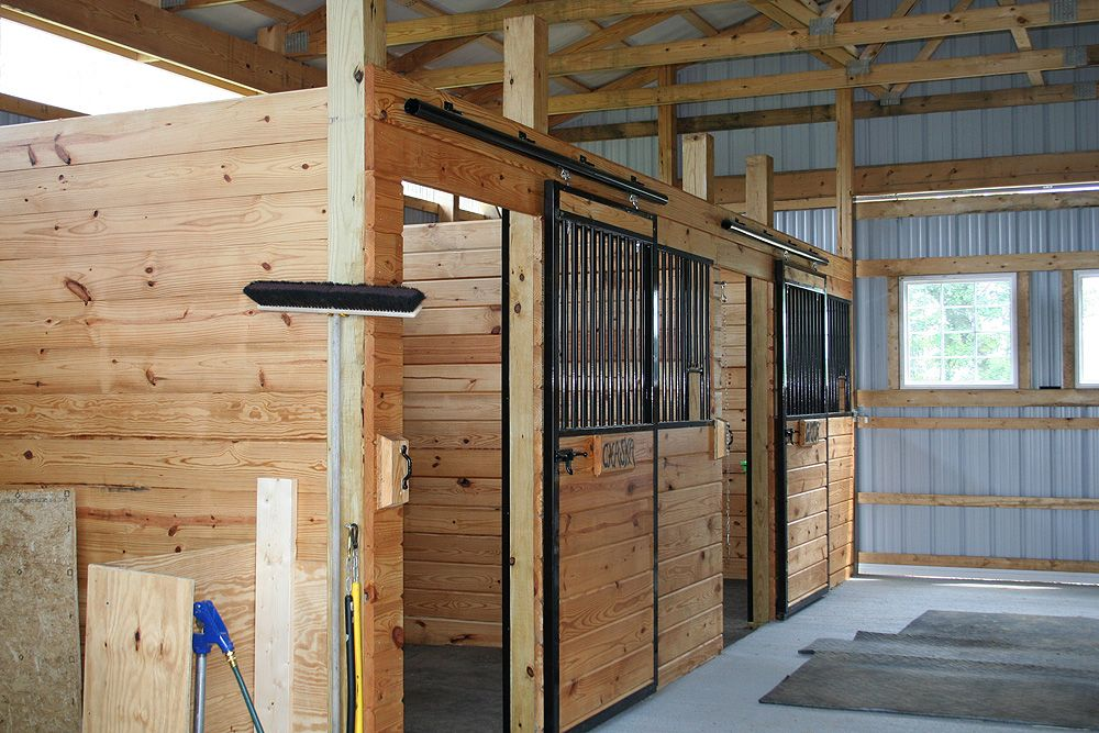 Diy barn stalls horse barn with 2 stalls and washroom for Two stall horse barn