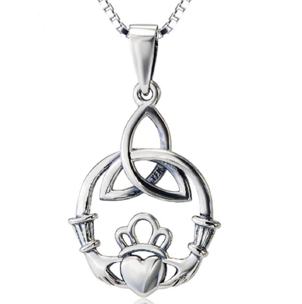 YFN Sterling Silver Celtic Triquetra Knot Pendant Necklace 18 Celtic Luck Necklaces