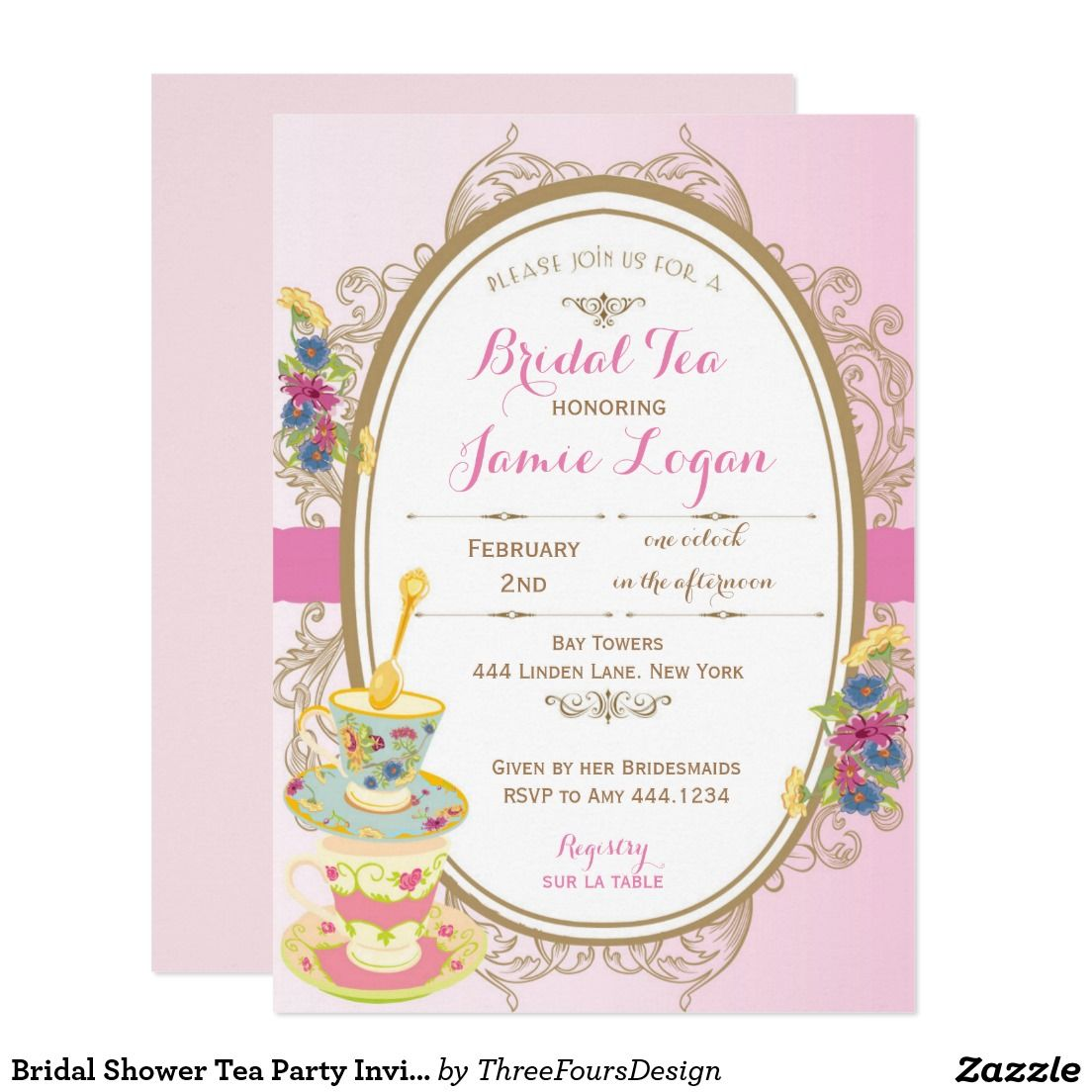 Bridal Shower Tea Party Invitation  Tea Party Invitiation