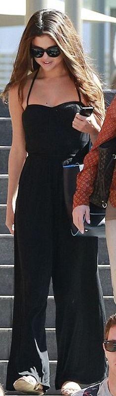 adff04e62e3a Selena Gomez  Jumpsuit – Robin Piccone Purse – Versace Shoes – Zara ...
