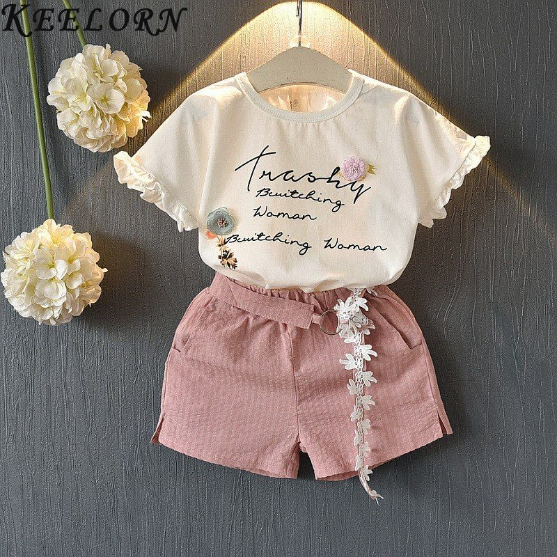 2019 New Child Kids Baby Girls Outfits Clothes Princess Letter T-Shirt Tops+Pants Set