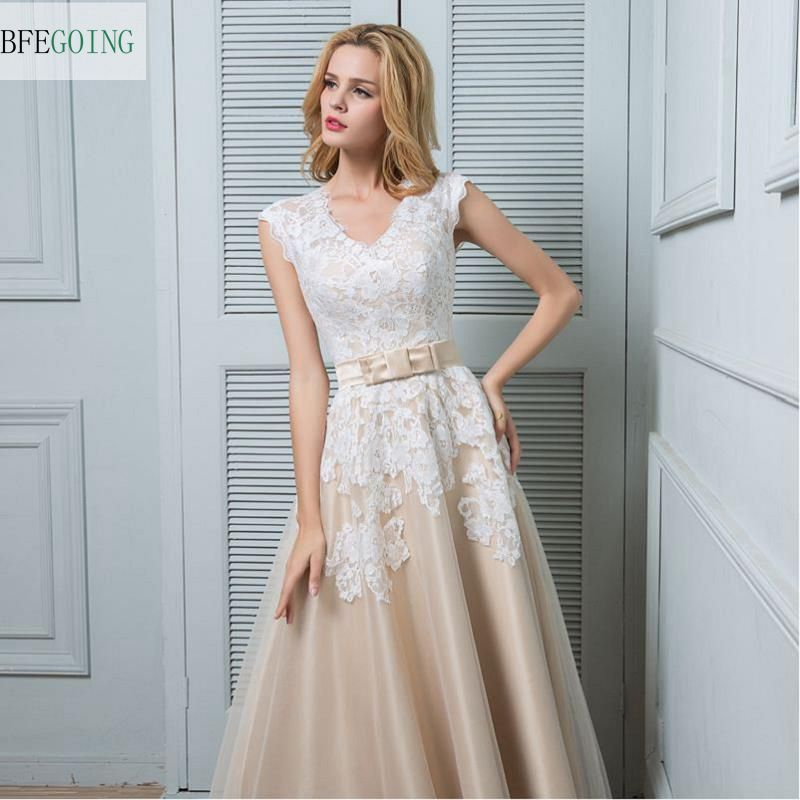 Champagne Ankle-Length V-Neck Lace Satin Tulle A-Line Wedding Dress ...