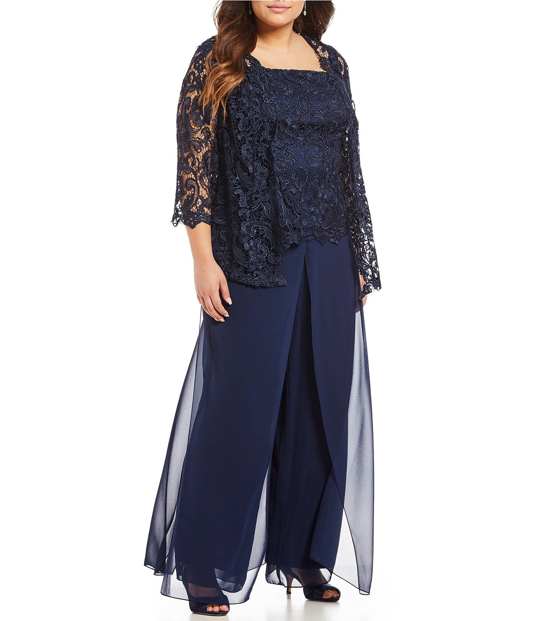 3fe9934487 Emma Street Plus Lace Chiffon 3Piece Pant Set  Dillards