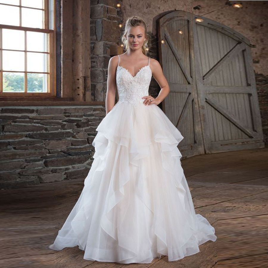 Spaghetti Strap Cross Back Wedding Dress Ruffled Skirt Tulle Ball Gown With Appliques Backless Bride Dress Vestido Novia Best To Buy Online In 2020 Wedding Dresses With Straps Ruffle Wedding,Corset Short Wedding Dresses With Train