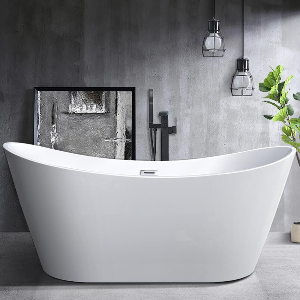 Vanity Art Mulhouse 71 In Acrylic Flatbottom Freestanding Bathtub In White Va6517 The Home Depot In 2020 Soaking Bathtubs Free Standing Bath Tub Free Standing Tub