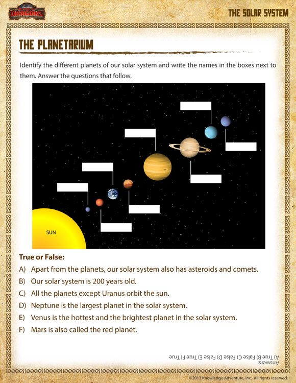 The Planetarium Printable 1st Grade Science Worksheet For Kids The Planets Worksheet C2 W9 1st Grade Science Solar System Worksheets First Grade Science
