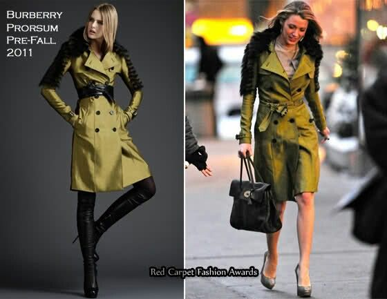 On The Set Of Gossip Girl - Blake Lively In Burberry Prorsum - Red Carpet  Fashion Awards 597662ace59ef