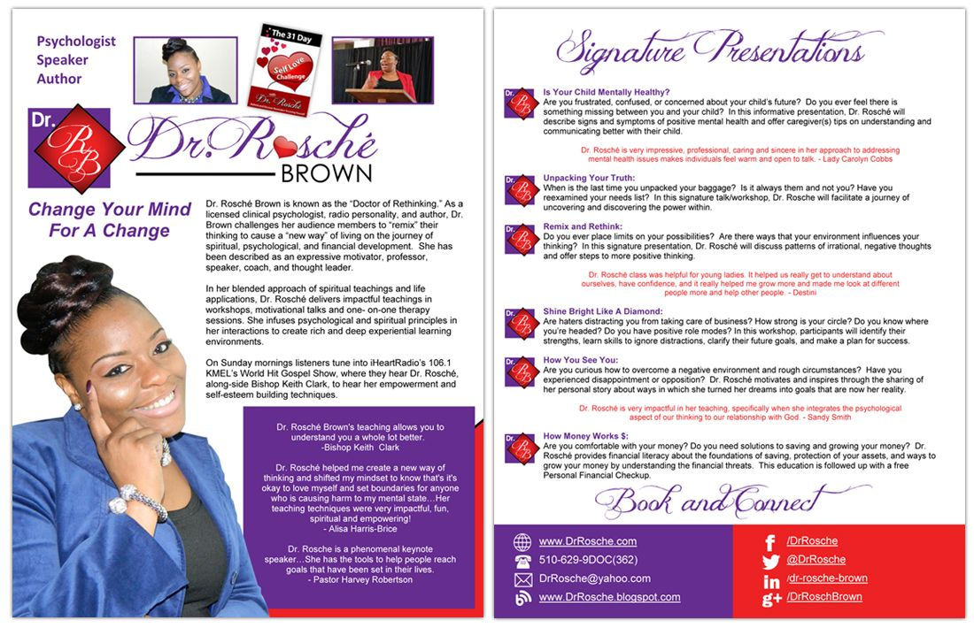 Professional Speaker One Sheet Samples And Graphic Design Services Professional Speakers Speaker Public Speaking