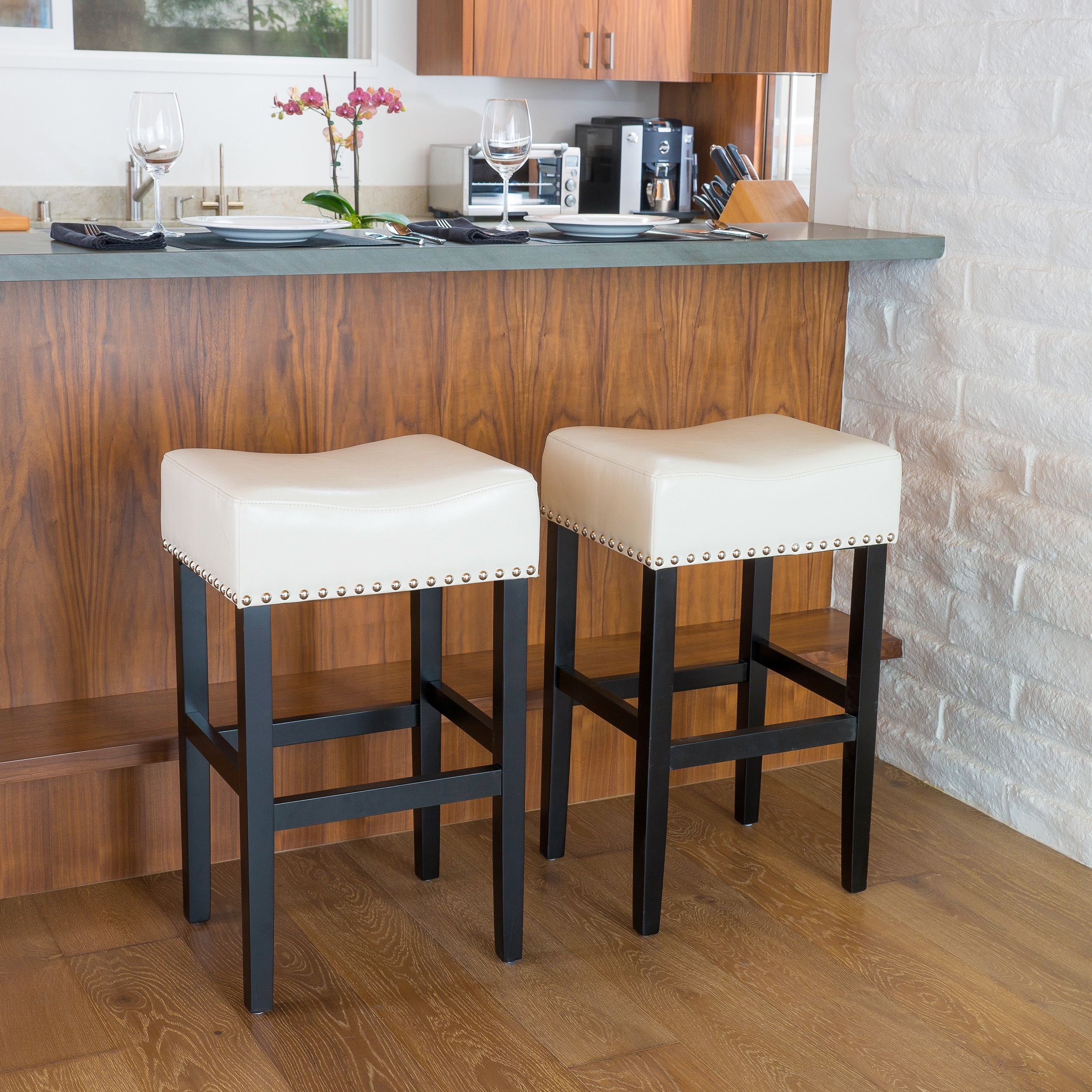 Lisette 30 Inch Backless Leather Bar Stool Set Of 2 By Christopher Knight Home Black Bar Stools Leather Bar Stools Leather Counter Stools