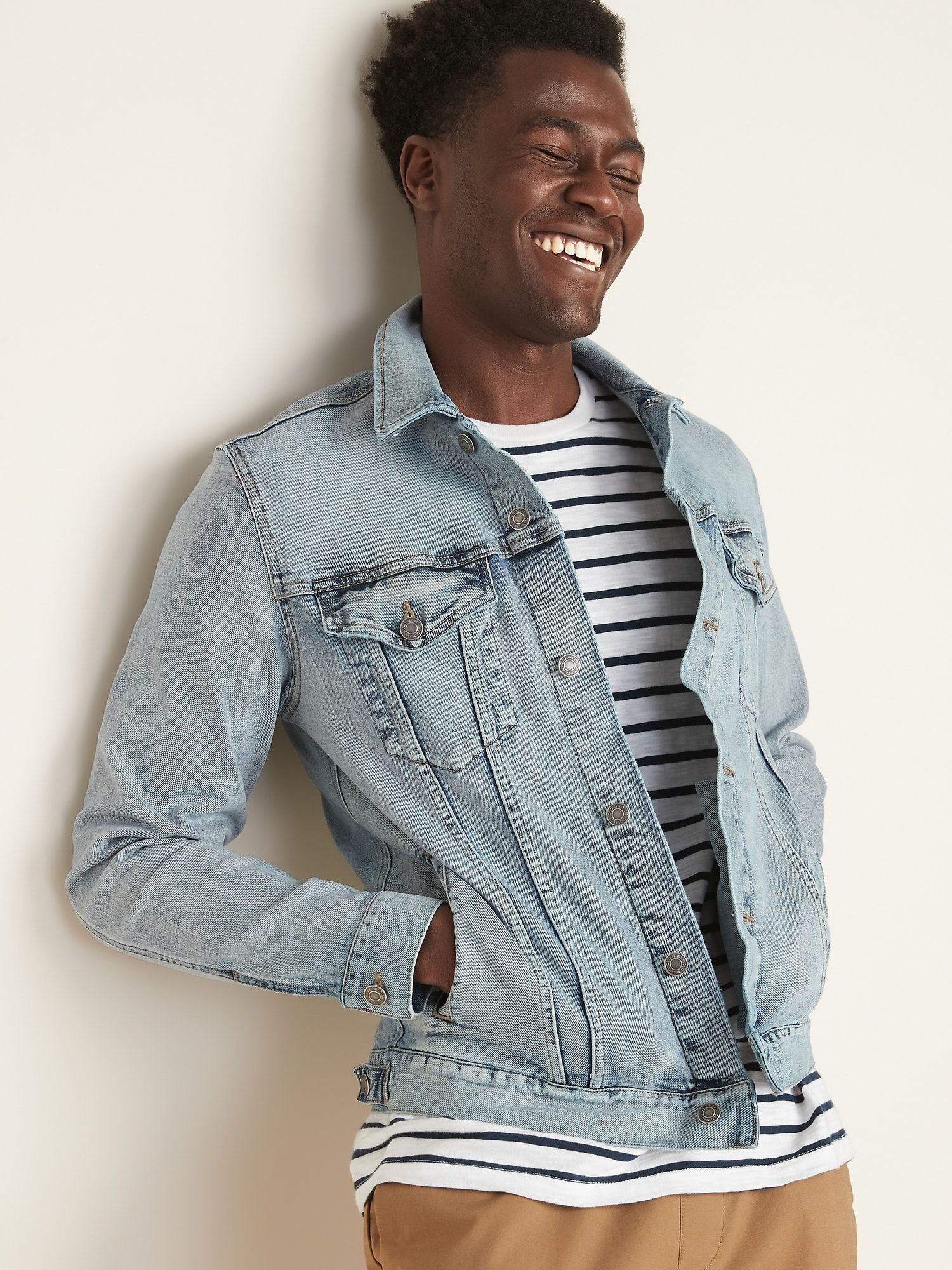 Built In Flex Light Wash Jean Jacket For Men Light Wash Jean Jacket Light Wash Jeans Mens Jackets [ 2000 x 1500 Pixel ]