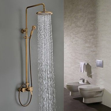 Traditional Antique Brass 8 Inch Shower Head + Hand Shower Tub Shower  Faucetu2026