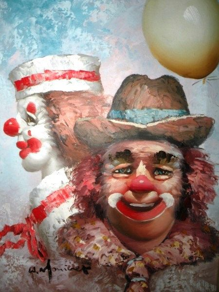 Sale Vintage Collectible W Moninet's Clowns by UncommonRecycables, $150.00