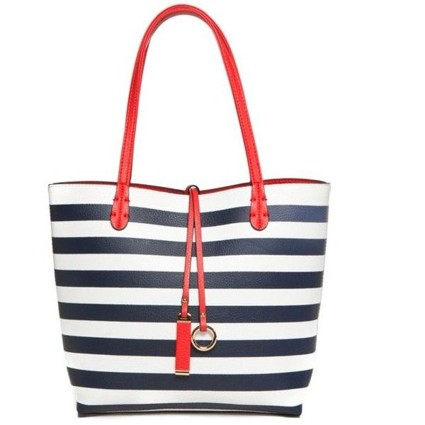New Directions Navy Stripe Reversible Medium Tote ($41) ❤ liked ...