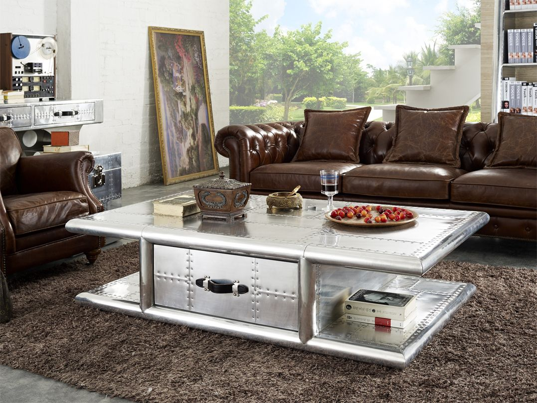 The Wing Commander Aluminium Coffee Table is an imposing presence in any living room. Extremely sturdy, it will last for generations!