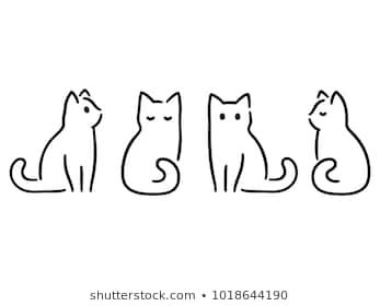 Best Funny Images Images vectorielles, images et images vectorielles de stock de Chat Minimalist cats drawing set. Cat doodles in abstract hand drawn style, black and white line art vector illustration. 3