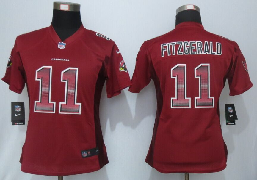 f62559a43f83 Womens Arizona Cardinals 11 Fitzgerald Red Strobe New Nike Elite Jersey