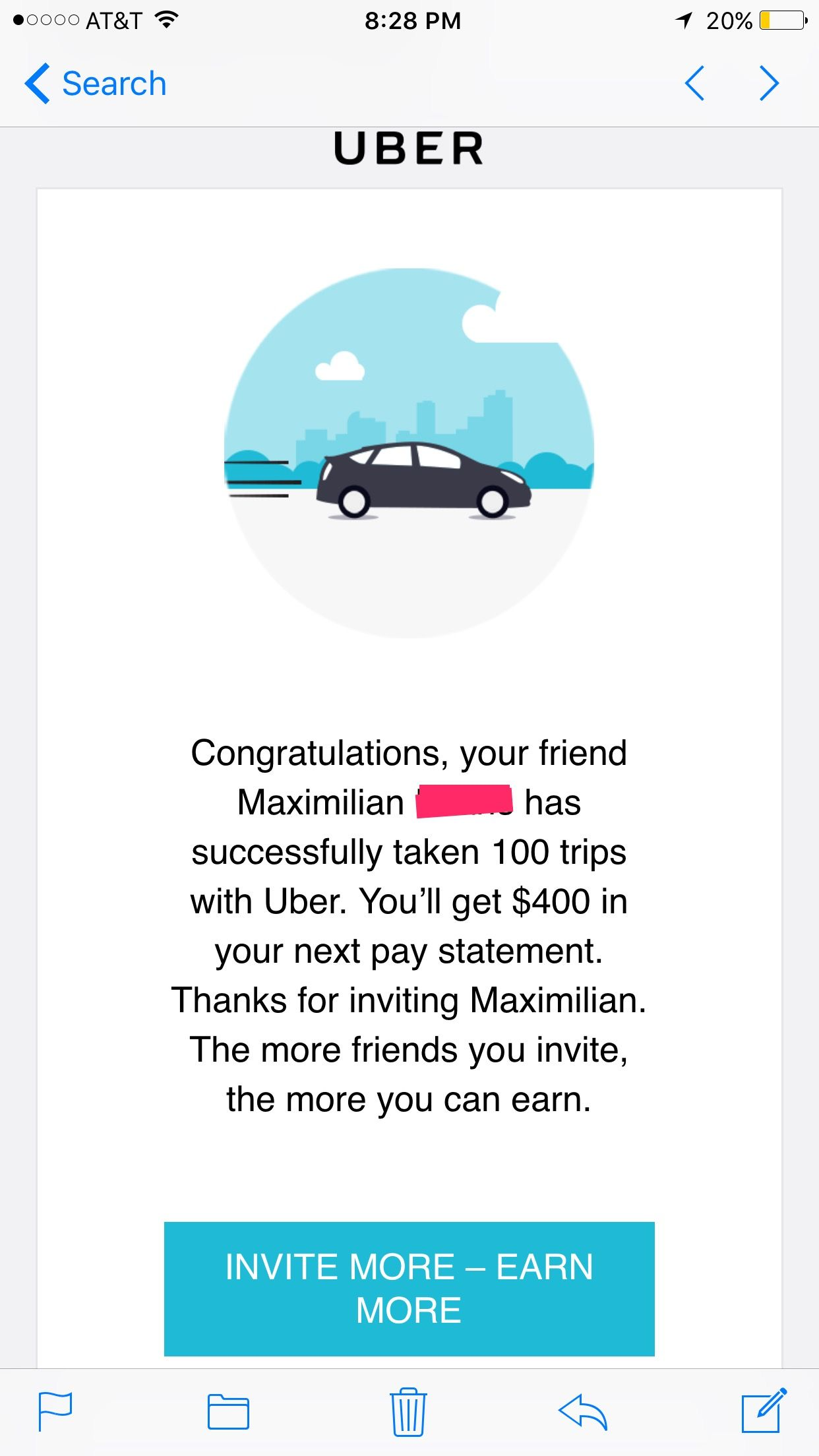 Email Uber Sends You Once Your Uber Referral Has Completed The