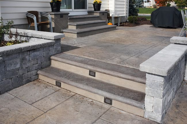 Stairs And Landing Stamped Concrete Patio Deck And