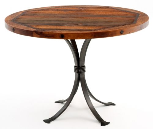 Round barn wood dining table with forged metal base by for Barn style kitchen table