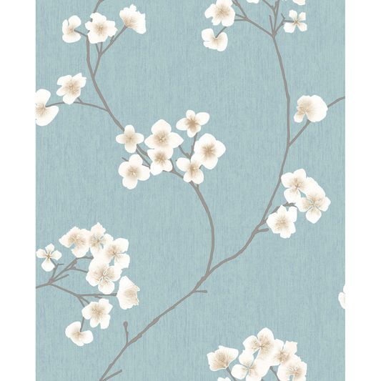 Radiance Blue and Cream Wallpaper Papier peint, Fond d