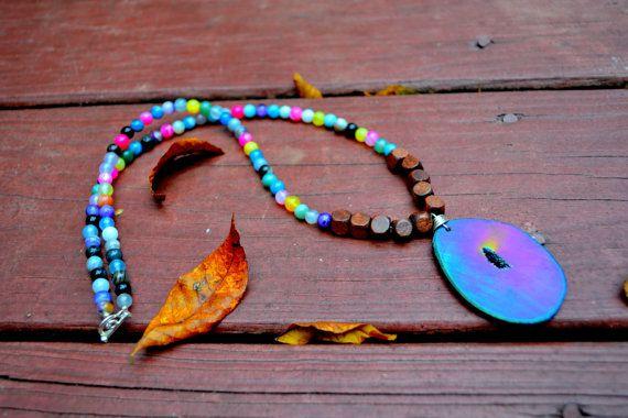 OOAK RAINBOW AGATE beaded necklace with by WingostarrJewelry, $35.00