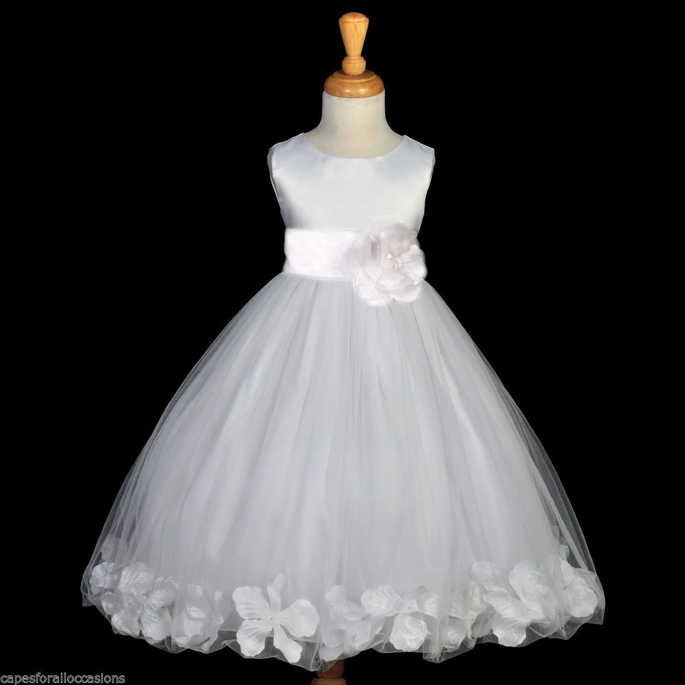 Best dress to wear to a baptism  WHITE BAPTISM PAGEANT EASTER WEDDING SASH FLOWER GIRL DRESS M