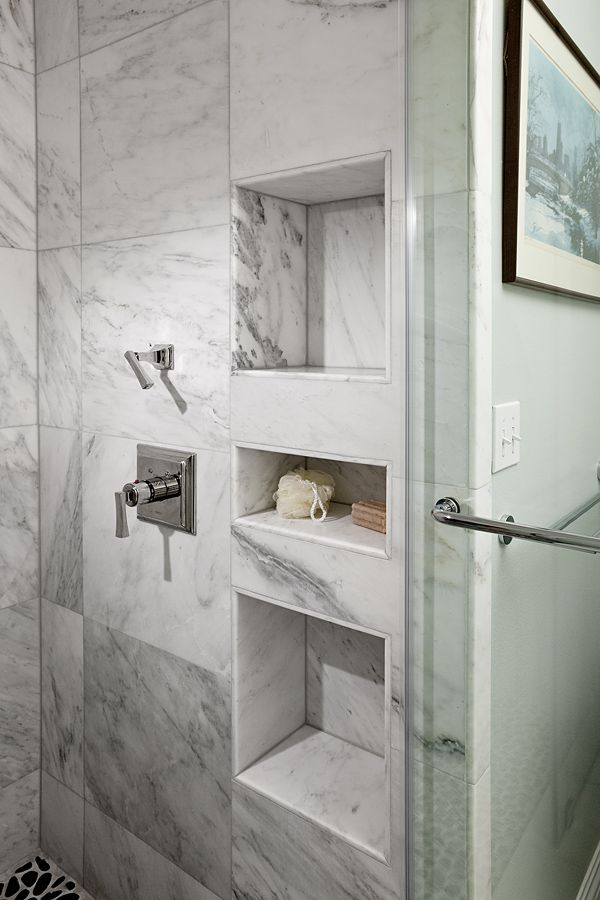 Shower niches functional and do not interrupt the flow for Bathroom alcove shelves
