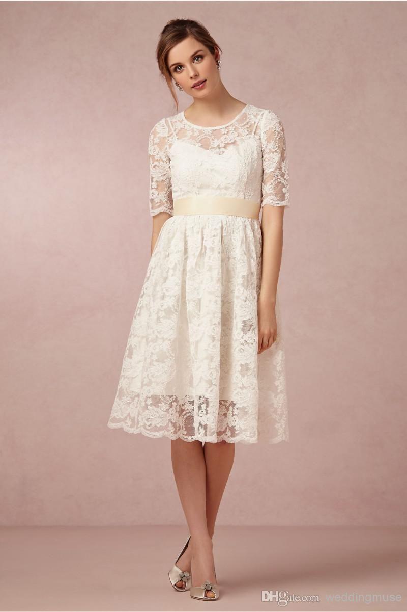Discount 2018 Short Wedding Dresses Jewel Neck Vintage Lace Beach ...