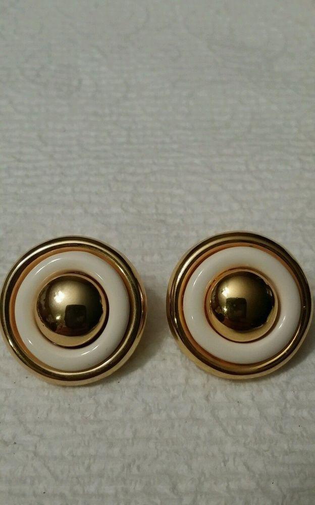 Vintage gold and white LIZ CLAIBORNE clip on  earrings #LizClaiborne #Stick