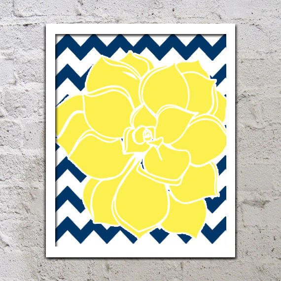 Bold Colorful Dahlia Flower Chevron Yellow Navy Blue Decor Wall Art ...