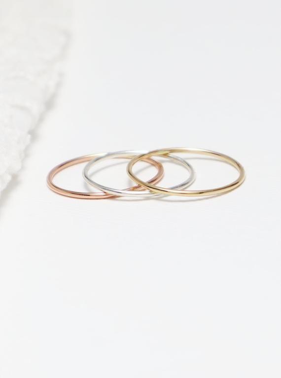 8d5b53ec3569b Super Thin Gold & Silver Ring Set Of 3, Rings For Women, Thumb Ring ...