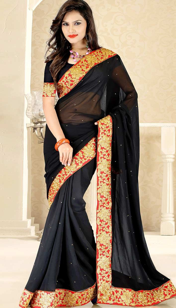 Buy Beautiful Bollywood Latest Black Chiffon Designer Saree  #LatestChiffon Designer Saree Link- http://alturl.com/ejft7