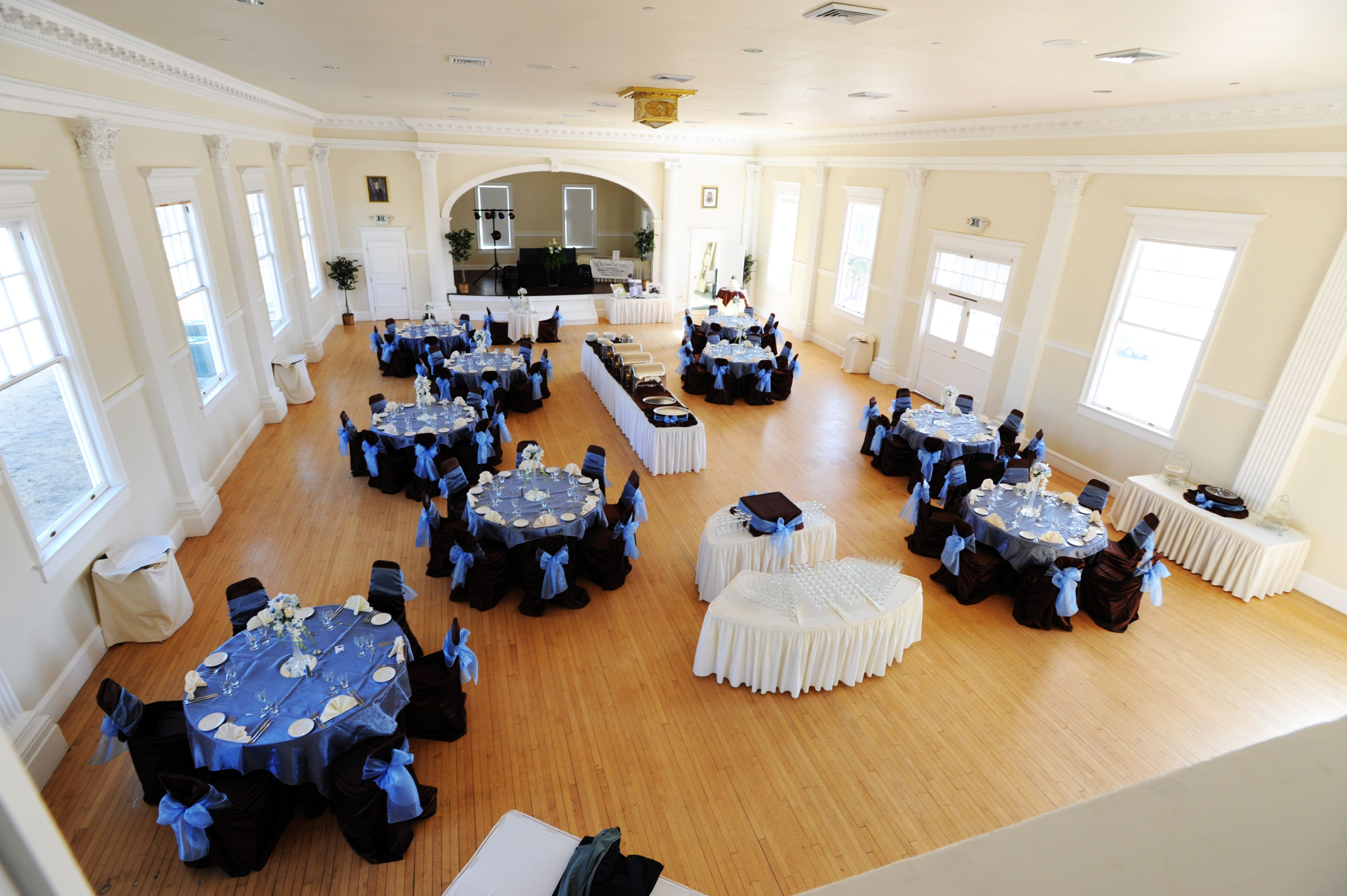 Navy Blue and white themed wedding Concert Hall Stanley