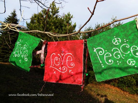 Christmas-themed prayer flags, Inspire, Love, Peace on Etsy