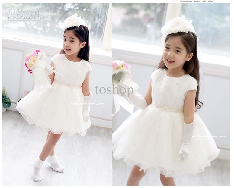 luxury children dress white princess skirt flower girl dress ...