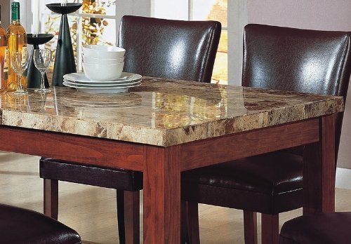 Rectangular Cream Sleek Granite Top Dining Table With Wooden Base And Chocolate Brown Leather Dinin Stone Dining Table Granite Dining Table Dining Table Marble