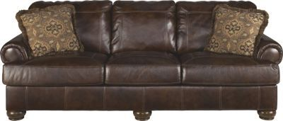 Ashley Axiom Walnut 100 Leather Sofa Grilled Chicken Tzatziki