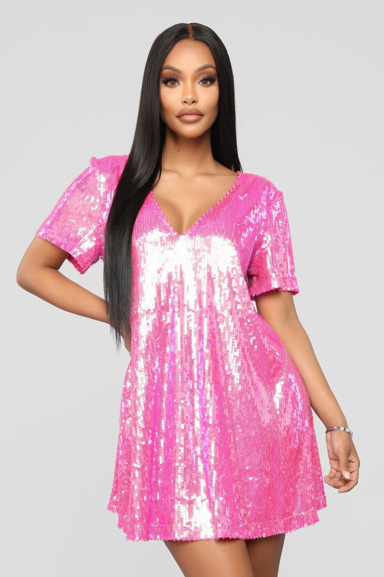 7e16414648 It's Poppin' Sequin Shirt Dress - Hot Pink in 2019 | Pearlescent ...