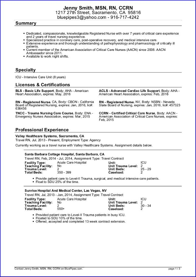 Sample Travel Nursing Resume - Free Template Nursing resume - sample resume for first job