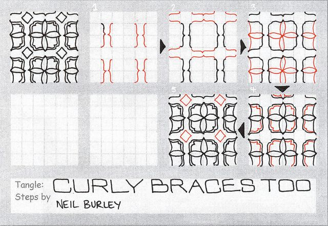 Curly Braces Too tangle pattern by perfectly4med, via