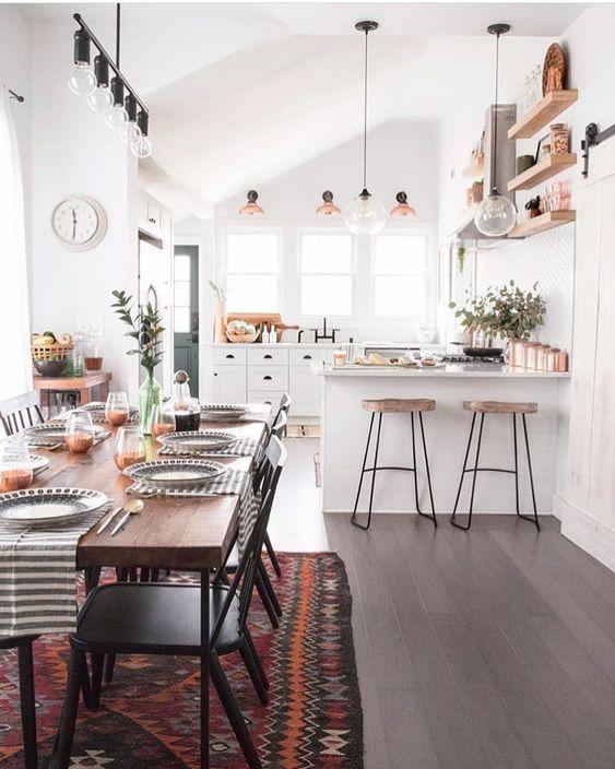 Offene Küche in weiß mit Deko im scandi Boho Look | Ideen ...