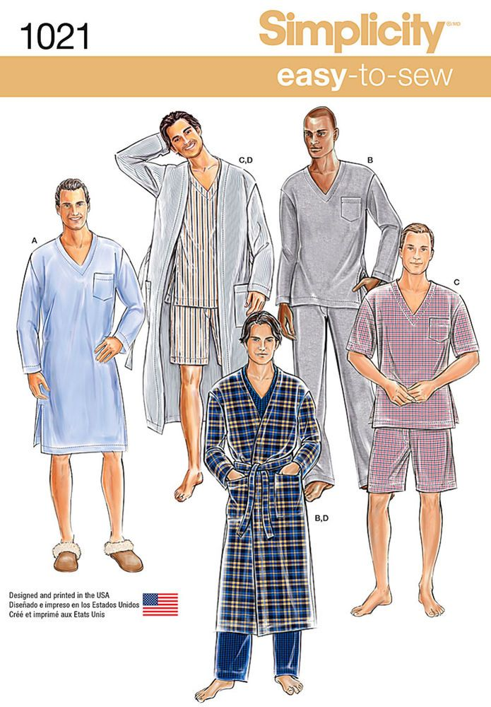 this easy to sew pajama pattern for men includes long robe, night ...