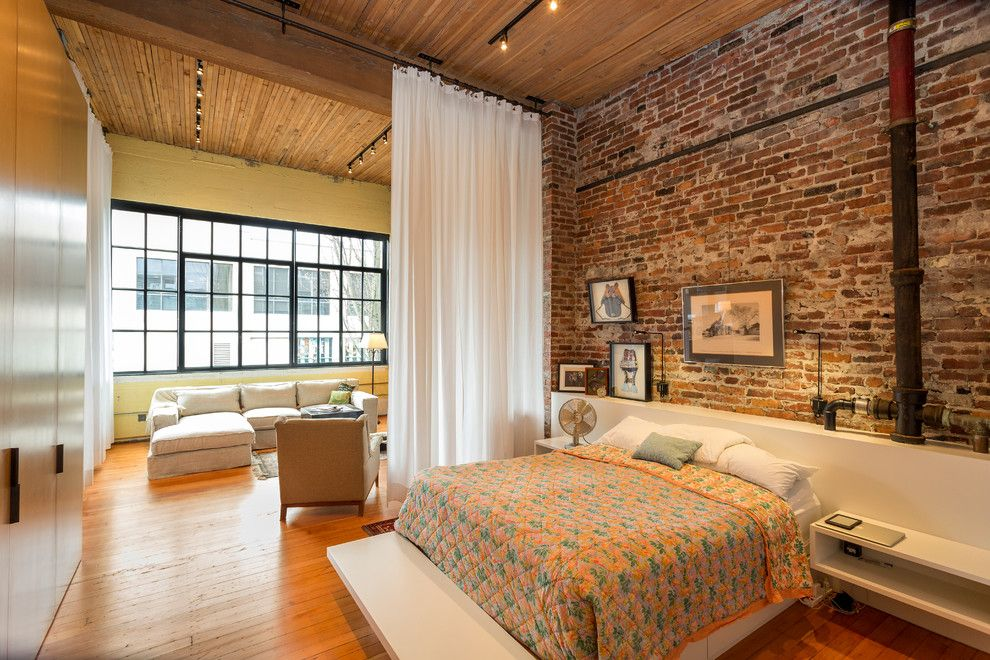 room divider curtains Bedroom Industrial with brick wall built-in bed high  ceilings loft - Room Divider Curtains Bedroom Industrial With Brick Wall Built-in