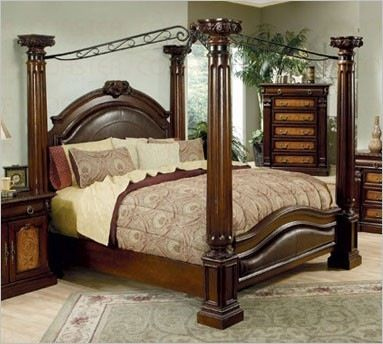 King Size Bed Frame Four Post Leather Head Board And